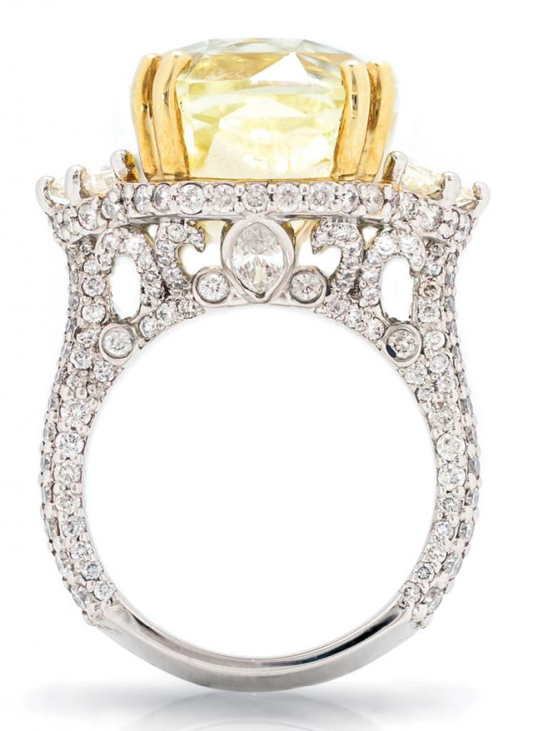 Certi ed 22.14 ct. radiantcut yellow sapphire and accent diamonds (5.72 total cts.) set in platinum by Kiersten Elizabeth Fine Jewelry ($86,000)