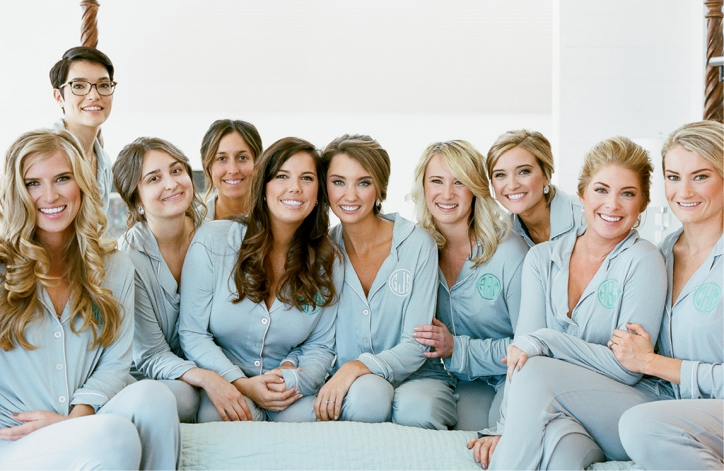 Grayson gave each bridesmaids her own set of monogrammed pajamas and fleece socks to wear while primping, and a vintage fur to cozy up in during the reception.