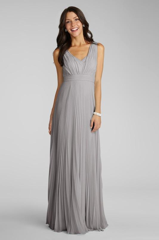 """Donna Morgan's """"Giselle"""" in Sterling. Available in Charleston through Bella Bridesmaids."""