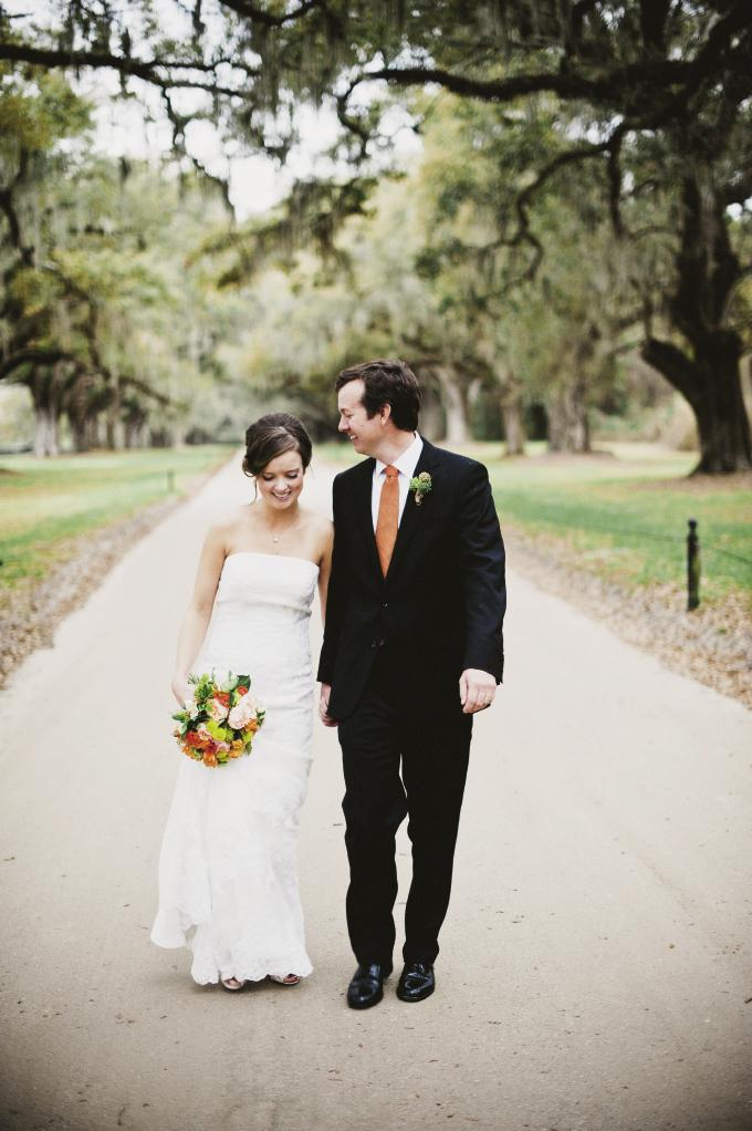 LOVER'S STROLL: Sara found her dream dress—a strapless lace gown by Venus Bridals—from Condon's Bridal Boutique. Gregg looked handsome in his suit from Brooks Brothers and a tie from Lands' End.