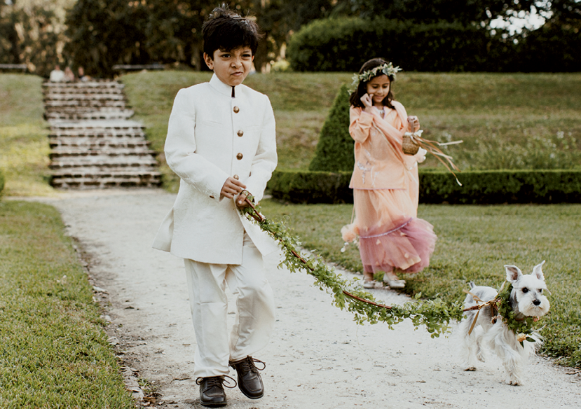 Busy as a Bee - From wearing a turban (usually an honor reserved for Indian grooms) to joining his uncle on horseback to taking the lead with the couple's pup, Presly, Agam and Jen's nephew Aden, checked off a lot of firsts on their wedding day.