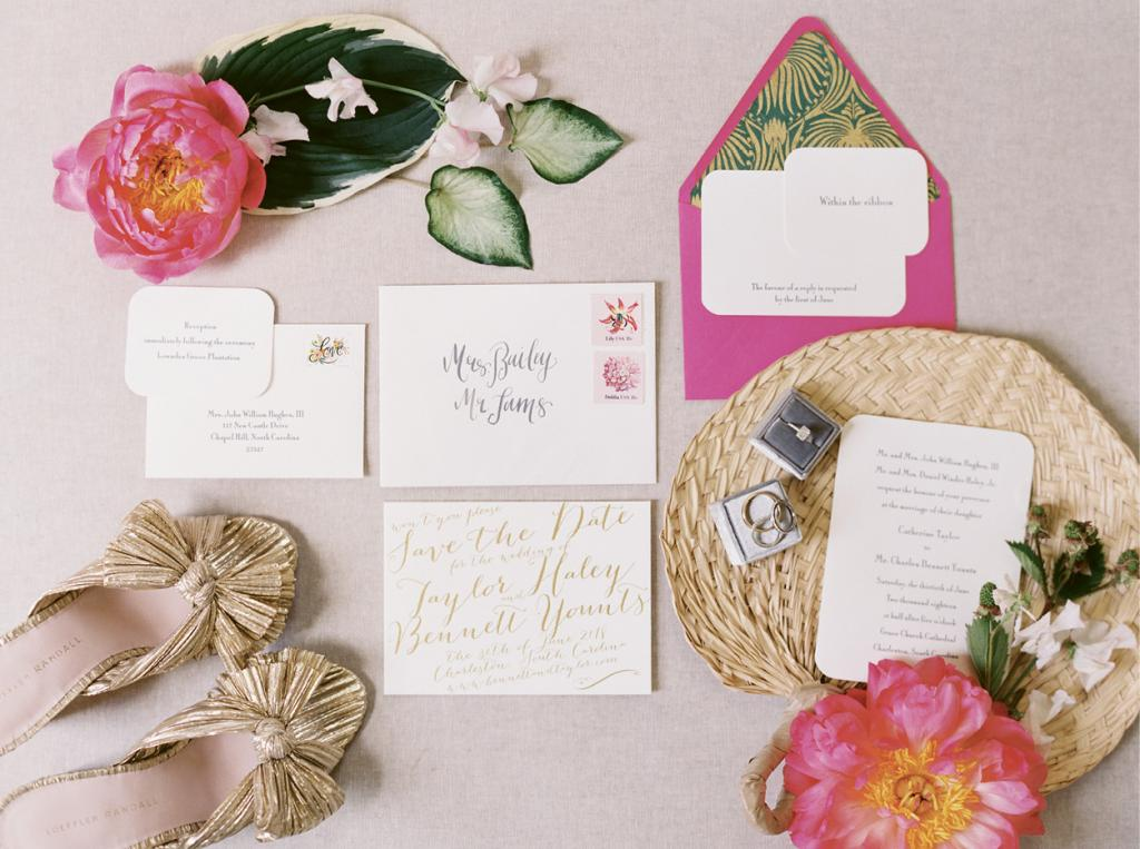 Taylor designed the paper suite (she owns and runs Surcie Fine Gifts and Stationery) and taught herself calligraphy so she could address the invitations.