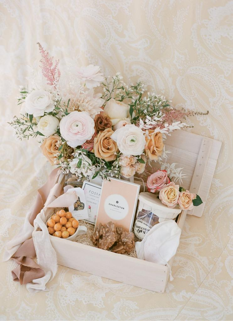 A smaller guest list affords more extravagant welcome boxes, like this one with local treats.