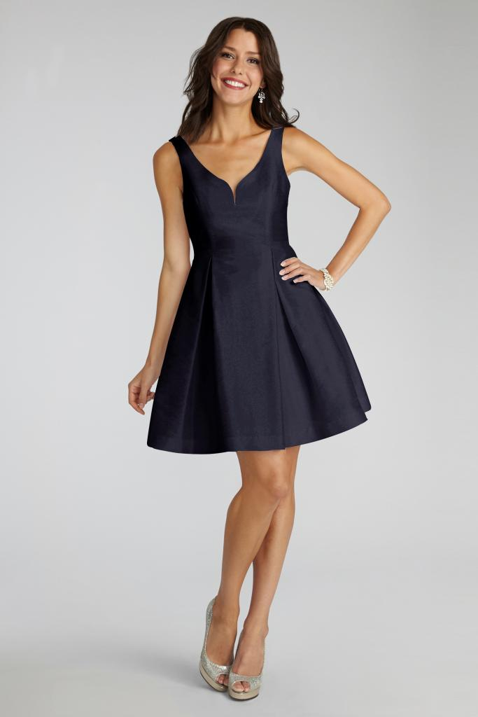 """Donna Morgan's """"Ruby"""" in Navy. Available in Charleston through Bella Bridesmaids."""