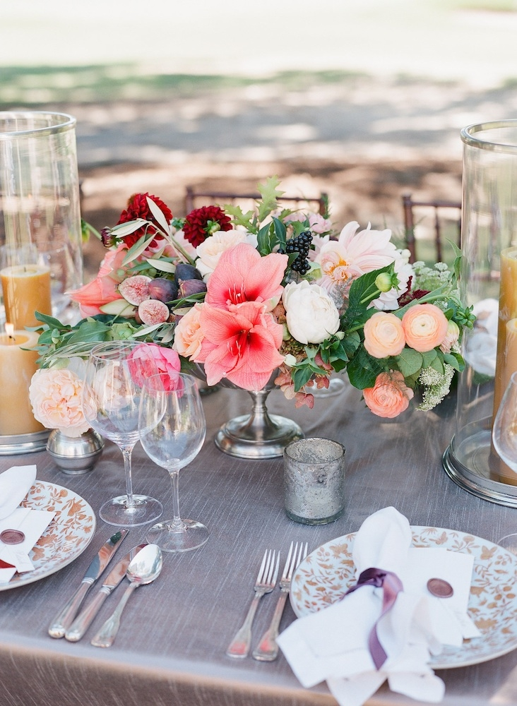 Wedding design by Easton Events. Florals by Charleston Stems. Velvet ribbon from MOKUBA. Rentals and napkins from Festive Fare. Glassware from Snyder Events. Linens from La Tavola. Place setting from Yeamans Hall Club. Image by Corbin Gurkin Photography at Yeamans Hall Club.