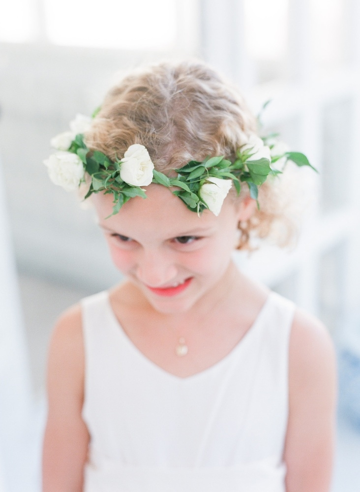 Flower girl's dress from J.Crew. Hair wreath by Charleston Stems. Image by Corbin Gurkin Photography.