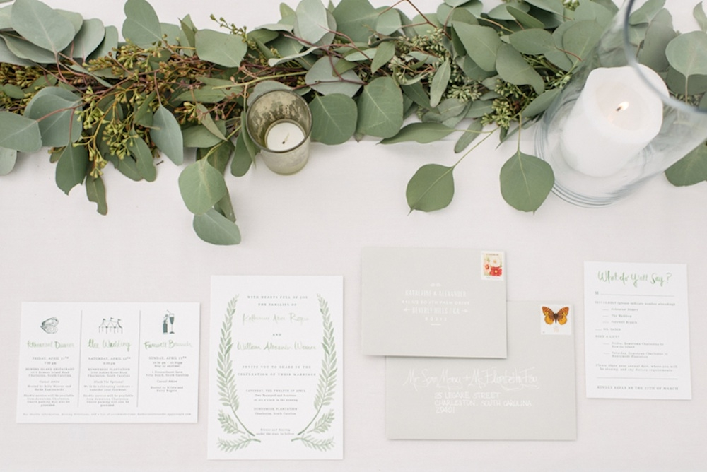 Stationery designed by the bride, letterpressed by Lala Press. Photograph by Sean Money + Elizabeth Fay.