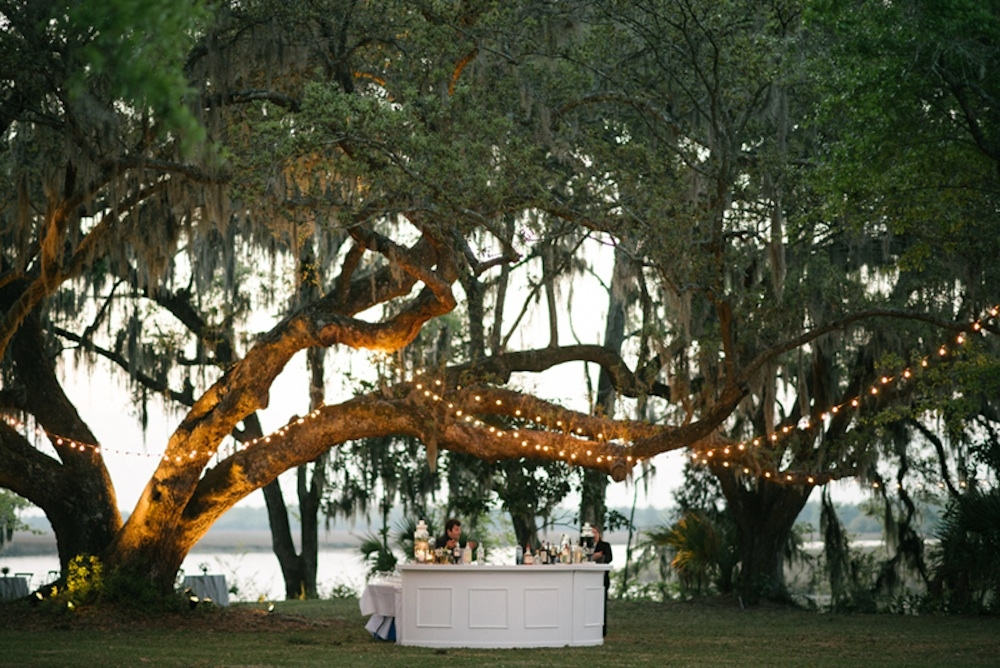 Lighting by Technical Event Company. Photograph by Sean Money + Elizabeth Fay at Runnymede Plantation.