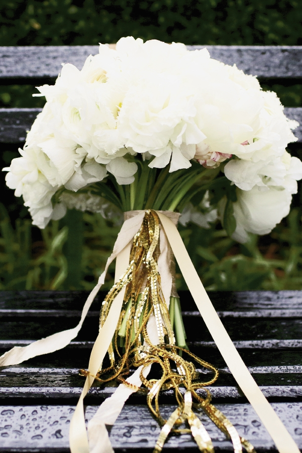 Add sparkle to a bouquet with sequined ribbon, like Charleston Stems did. Image by The Connellys.