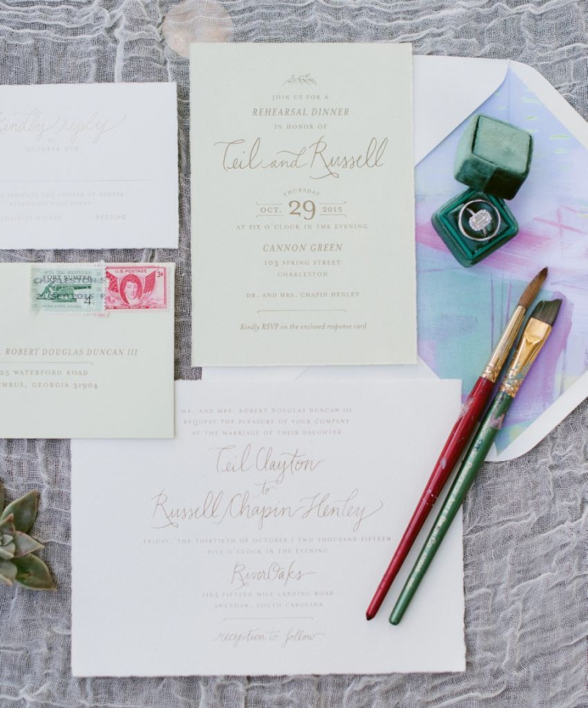 Studio R turned a design by bride Teil into envelope liners for the stationery suite. (Image by Natalie Franke Photography)