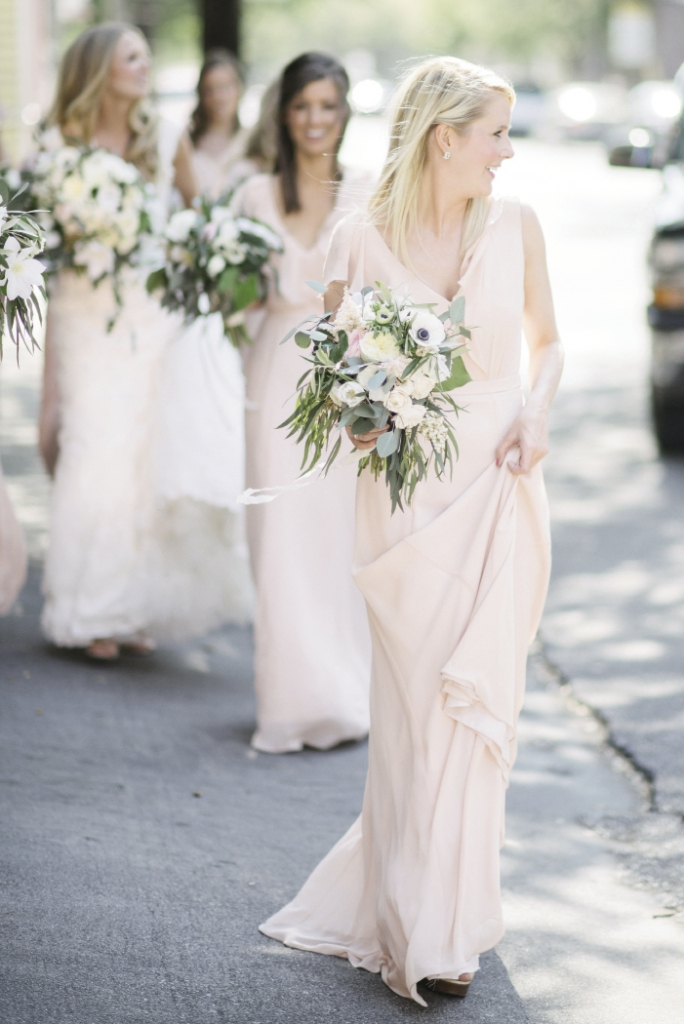 Bridesmaid dresses by Jenny Yoo (available locally at Bella Bridesmaids and Fabulous Frocks). Bouquets by Sara York Grimshaw Designs. Photograph by Sean Money + Elizabeth Fay.