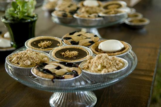 UNTRADITIONAL SWEETS: Rather than choosing a towering confection for dessert, the couple opted for mini pies from Duvall Catering, giving the spread a down-home, grandma's cooking feel.