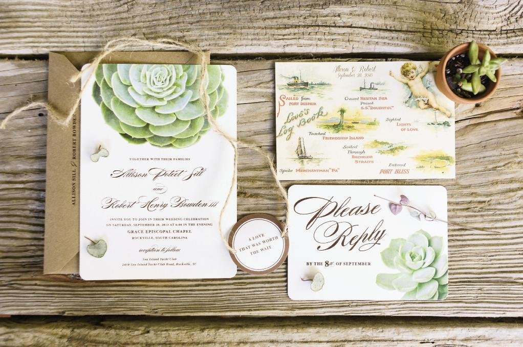 PAPER TRAIL: Invites by Etsy vendor Oak & Orchid boasted a succulent motif, foreshadowing the day-of florals. Open House replicated a 1900s postcard from Allison's family illustrating a journey from Port Despair to Port Bliss, and turned it into a rehearsal dinner invitation.