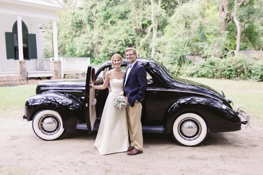 HISTORIC RIDE: The couple drove Allison's uncle's high school wheels—a 1939 Ford coupe—from the chapel to the yacht club. The bride wore a gown from Fabulous Frocks, while the groom wore dress khakis, a navy sportscoat, and a bow tie.