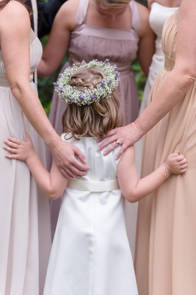 Bridesmaid's attire from Jean's Bridal. Flower girl dress from Janie and Jack. Florals by Forget Me Nots by Horst Florist. Image by Anne Liles Photography.