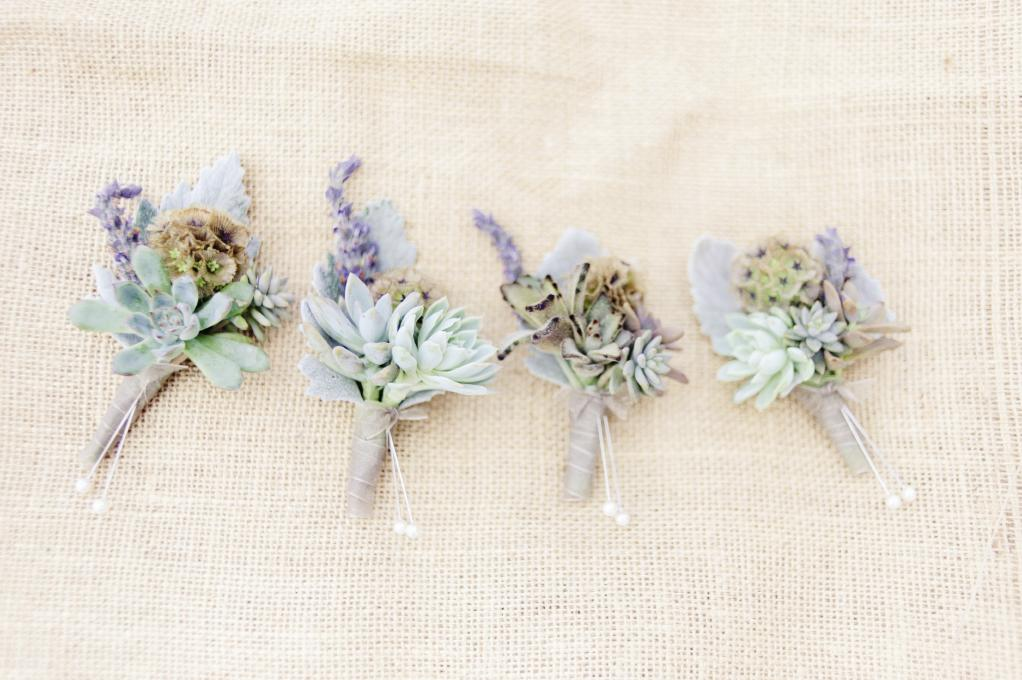 SMALL-TOWN STYLE: Succulent boutonnieres were hardy in the heat.