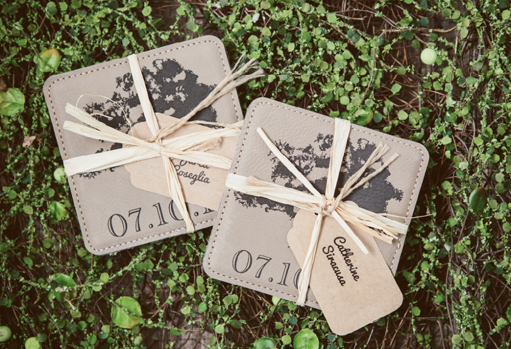 """We collect coasters everywhere we go,"" says Catherine of the inspiration behind their favors.   <i>Amelia + Dan Photography</i>"