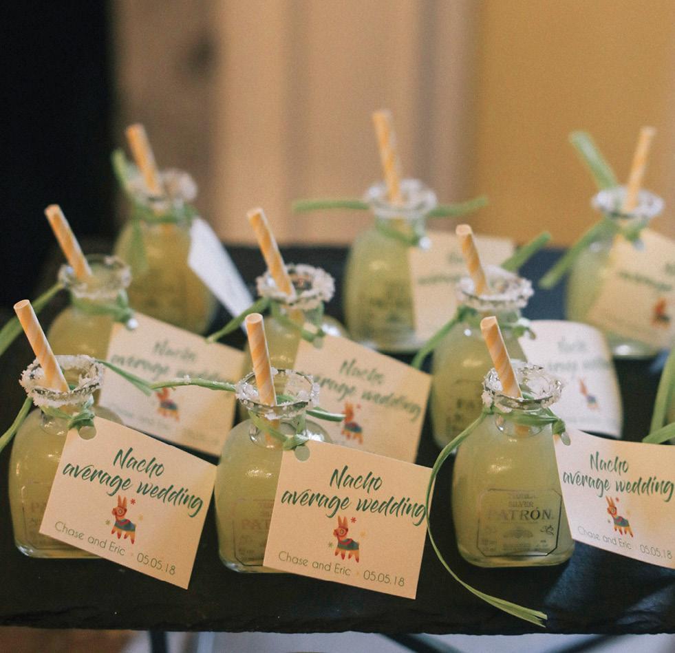 Margaritas in Patròn bottles were a nod to the Cinco de Mayo wedding date.