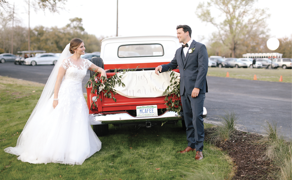 And in closing out the night, the couple's classic 1966 Chevy truck served as the getaway car.