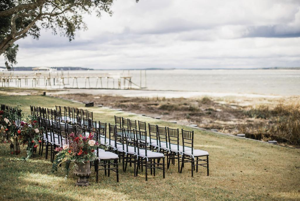 Guests looked out over Broad Creek—an offshoot of the Calibogue Sound—during the ceremony.