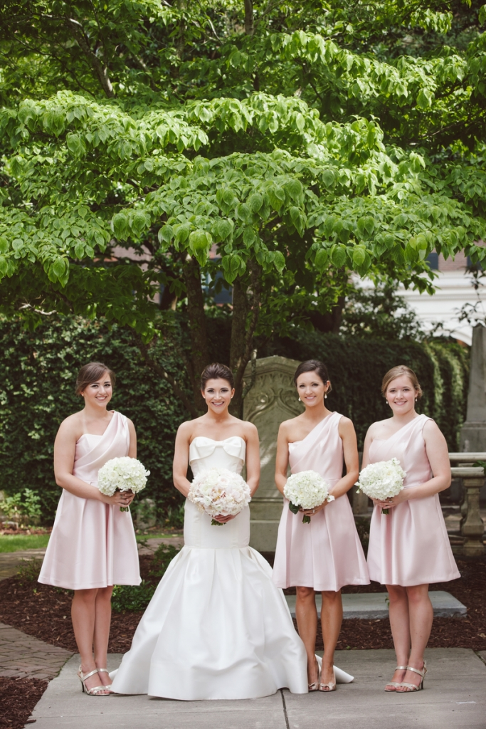 Bride's gown by Carolina Herrera (available locally at Fabulous Frocks). Bridesmaid dresses by Lela Rose (available locally at Bella Bridesmaids). Florals by Sara York Grimshaw Designs. Photograph by amelia + dan.