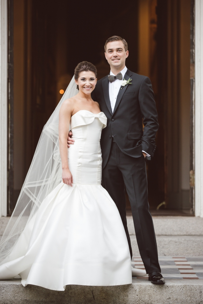 Bride's gown by Carolina Herrera (available locally at Fabulous Frocks). Bow tie from Brackish Bow Ties. Photograph by amelia + dan.