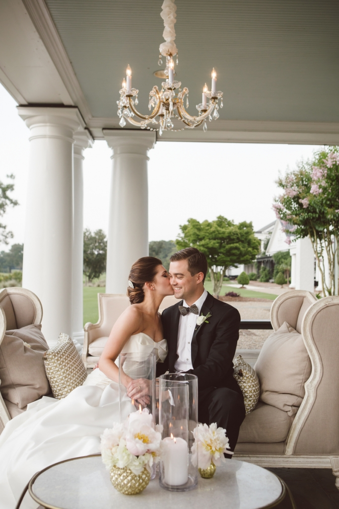 Bride's gown by Carolina Herrera (available locally at Fabulous Frocks). Bow tie from Brackish Bow Ties. Hair and makeup by Wedding Hair by Charlotte. Wedding design by WED. Florals by Sara York Grimshaw Designs. Photograph by amelia + dan.