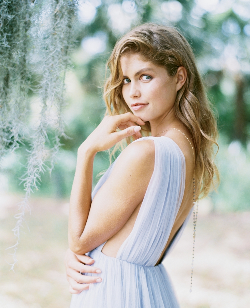 "Joanna August's ""Michelle"" tulle gown in ""Winter Song"" from Bella Bridesmaids. Lariat necklace from Copper Penny. Location: Seabrook Island Lake House, Pond Trail.  (Photograph by Perry Vaile)"