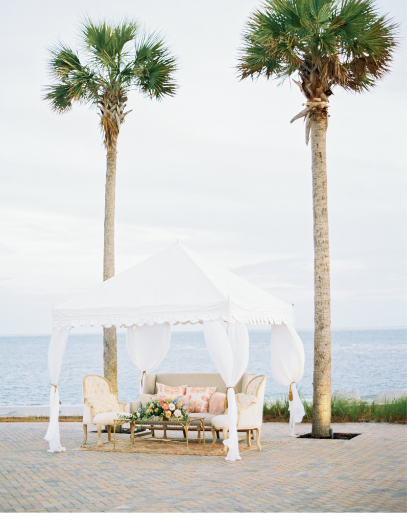 Tent lounge by Ooh! Events. Location: Seabrook Island Club Ocean Terrace. Photograph by Perry Vaile