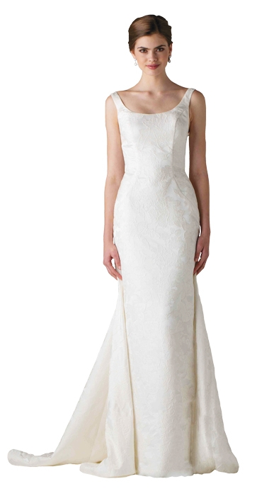 "Gown: ""Chartres""  by Anne Barge; Trends: jacquard fabric and detachable train; Shop: White on  Daniel Island"