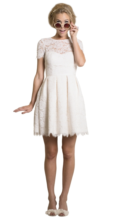 "Dress: ""Kitten"" by Amy Kuschel; Trend: short-sleeved shortie; Shop: Gown Boutique of Charleston"