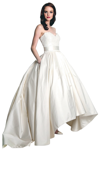 "Gown: ""Honor""  by Modern Trousseau; Trend: hi-lo  ballgown skirt; Shop: Modern Trousseau Charleston"