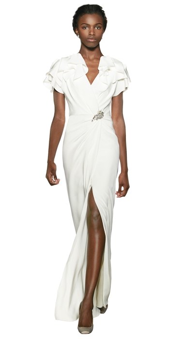 "Gown: ""Kelly""  by Jenny Packham; Trends: shoulder embellishments and thigh-high slit; Shop: White on Daniel Island"