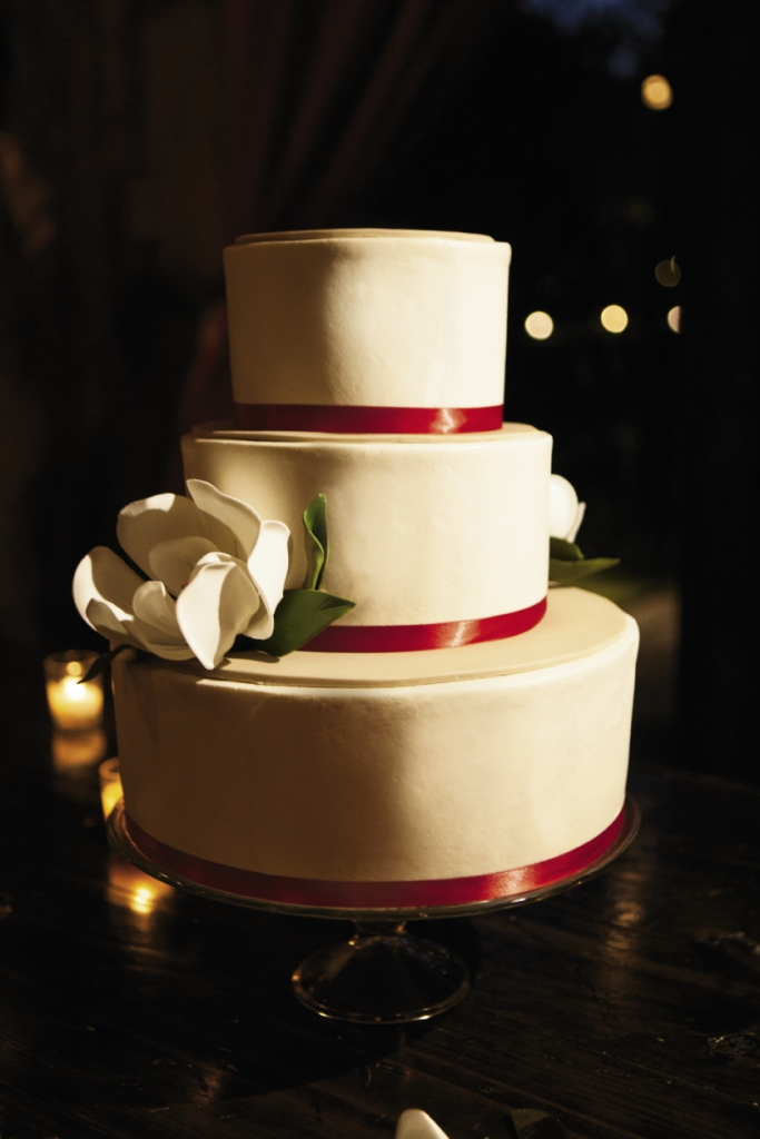 PIECE OF CAKE: Elaine's Events—Cakes of Distinction accented the wedding cake with handmade sugar magnolia blooms.