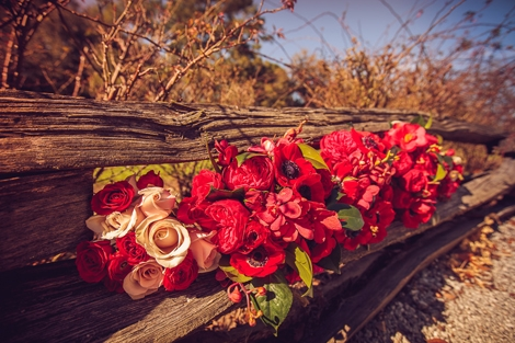 HOLD THAT POSE: Extend the life of your bouquets by asking your photographer to capture them in a still-life. Here, the velvety red blooms are striking when placed upon a split-rail fence on the plantation grounds.