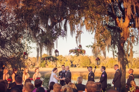 A RIVER RUNS THROUGH IT: The couple exchanged vows just steps from the Ashley River along a stretch where most of Charleston's remaining plantations lie.