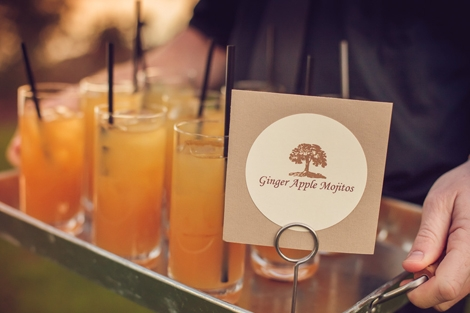 TELL IT LIKE IT IS: Quaint signs by Scotti Cline let guests know what was being offered, like these Ginger Apple Mojitos from IceBox bar services