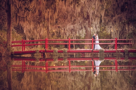 RED ROVER: Painted in vivid Chinese red, the schoolhouse pond bridge was a perfect spot for portraits.