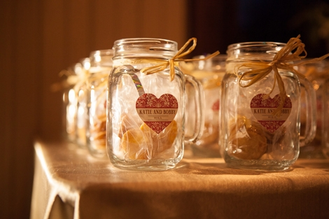 DO ME A FAVOR: Handled Mason jars filled with local benne wafers waited for guests to take home at the end of the night.