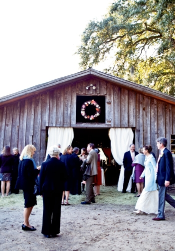 Meet & Greet: Guests from both coasts mingled before supper in the stable.
