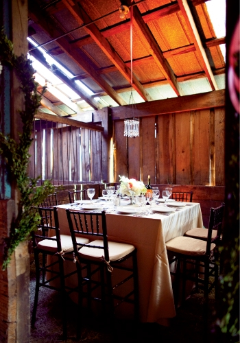 Party of Eight: Stalls became intimate dining rooms for small groups of guests when the long table had filled.