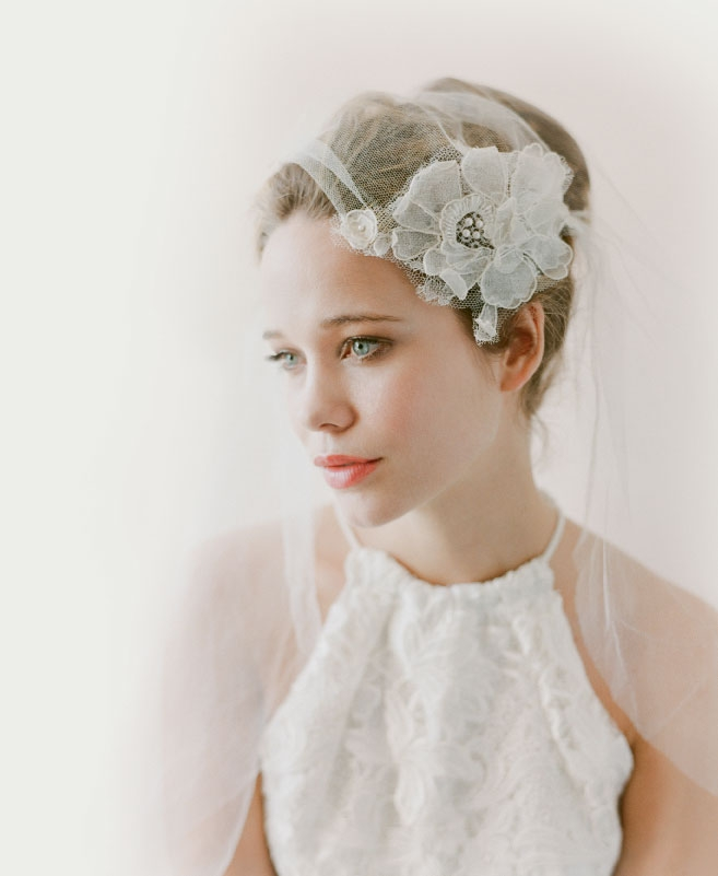 "Katherine McDonald's  ""Essex"" silk lace halter top from Kate McDonald Bridal. Twigs & Honey's no. 566 veil from LulaKate."