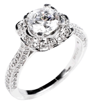 FLORABUNDANCE: 18K white gold ring with  accent diamonds (.46 total ct.) Paulo Geiss  Jewelers, $5,005  (setting only)