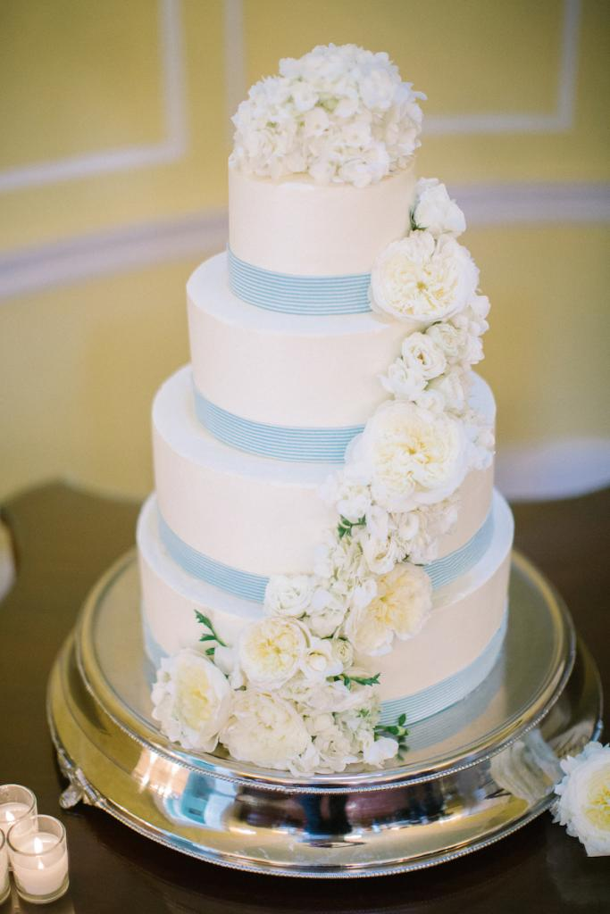 Cake by Patrick Properties Hospitality Group. Florals by Tiger Lily Weddings. Image by Clay Austin Photography.