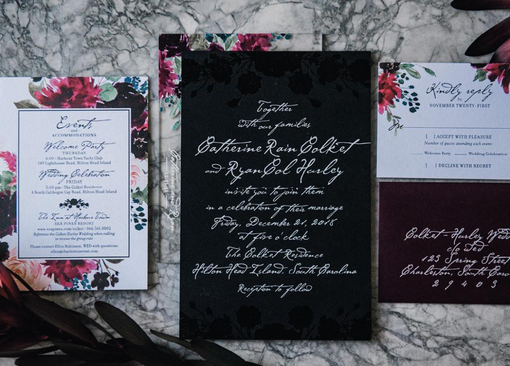 The stationery suite foreshadowed the wedding's palette and heavy-on-florals design.