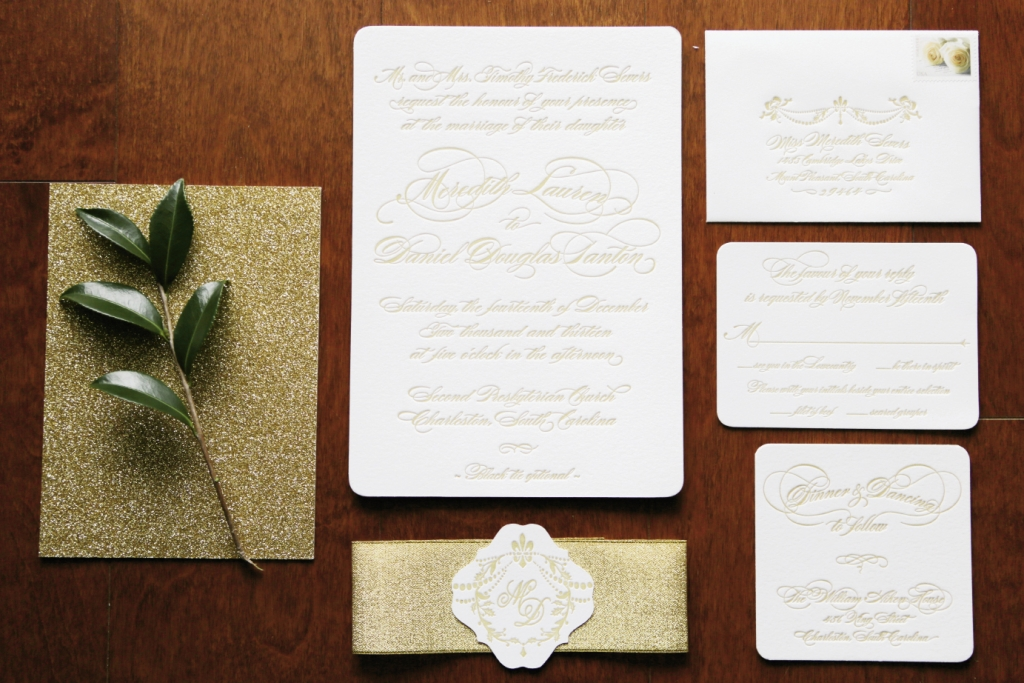 Make sure gold text on stationery is as legible as it is glam, as is this suite by Sixpence Press.  Image by The Connellys.