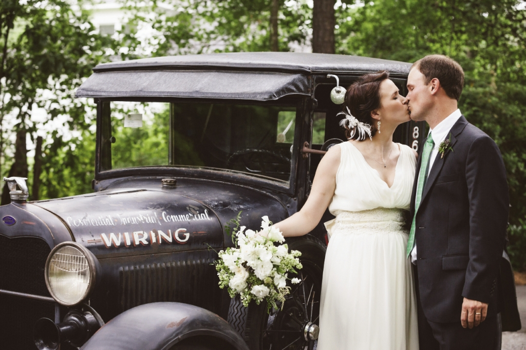 Caroline and Shane left the party in his grandfather's Ford Model A.