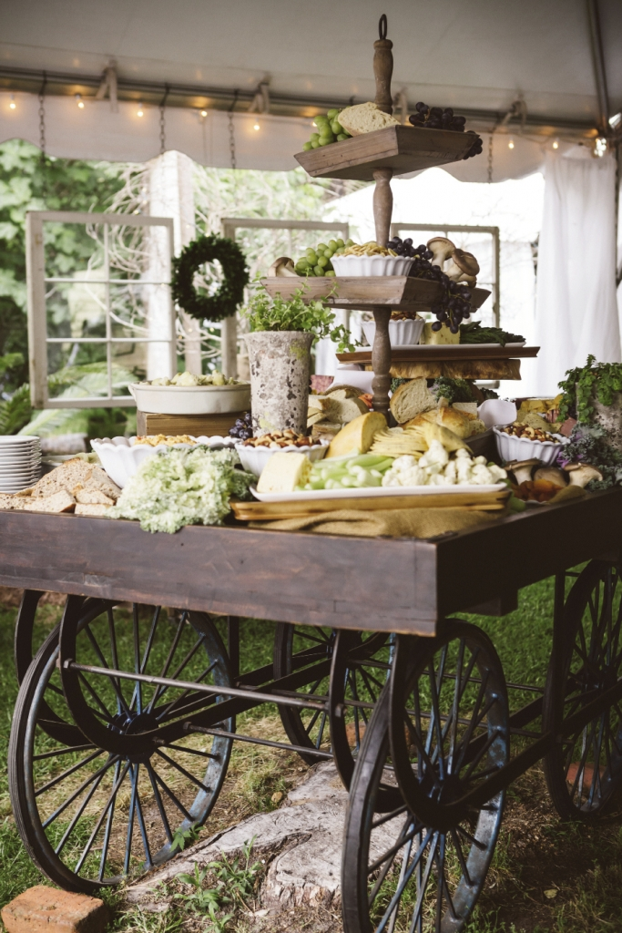 LUNCH CART: Incorporate your own furniture into your reception, like the bride and her mother did with this cart. Lowcountry Eats amplified the bountiful look by displaying cheese and vegetables on stands.