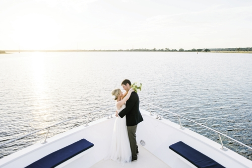 SHIP'S ROMANCE: Jamie and Tyler traded vows aboard The Carolina Girl October 18, 2014.