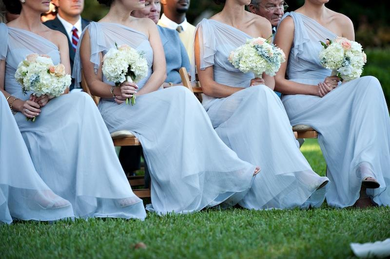 Bridesmaids' attire by Amsale from Bella Bridesmaids. Florals by HB Stems. Image by Kelli Boyd Photography.